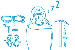 """Иллюстрация с восходителем для страницы сайта """"Прокат снаряжения"""""""