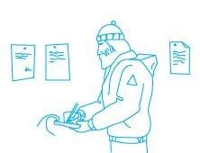 Иллюстрация с восходителем для страниц сайта