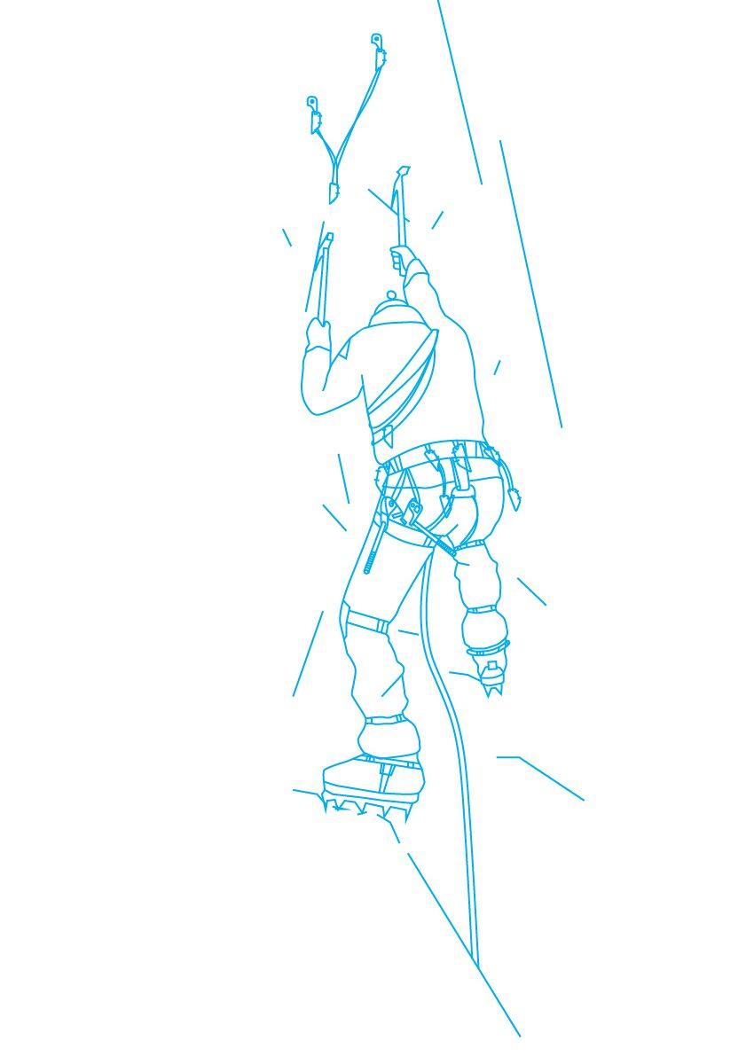 Иллюстрация с восходителем для страниц сайта связанных с учебными сборами по альпинизму