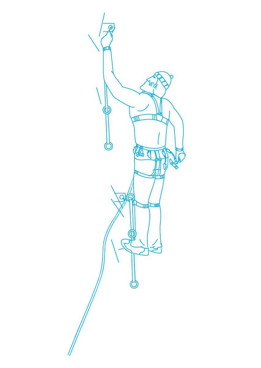 Иллюстрация с восходителем для страниц сайта связанных с обучающими альпинистскими программами