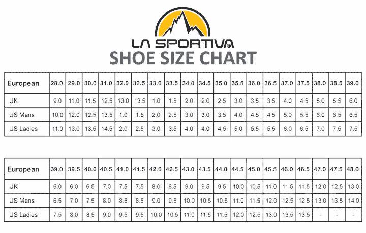Удобная сводный график размеров обуви от итальянского бренда La Sportiva