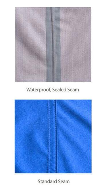 На картинке четко показано, чем отличаются швы в штормовых куртках