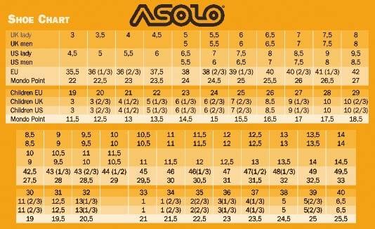 Удобная сводный график размеров обуви от бренда Asolo